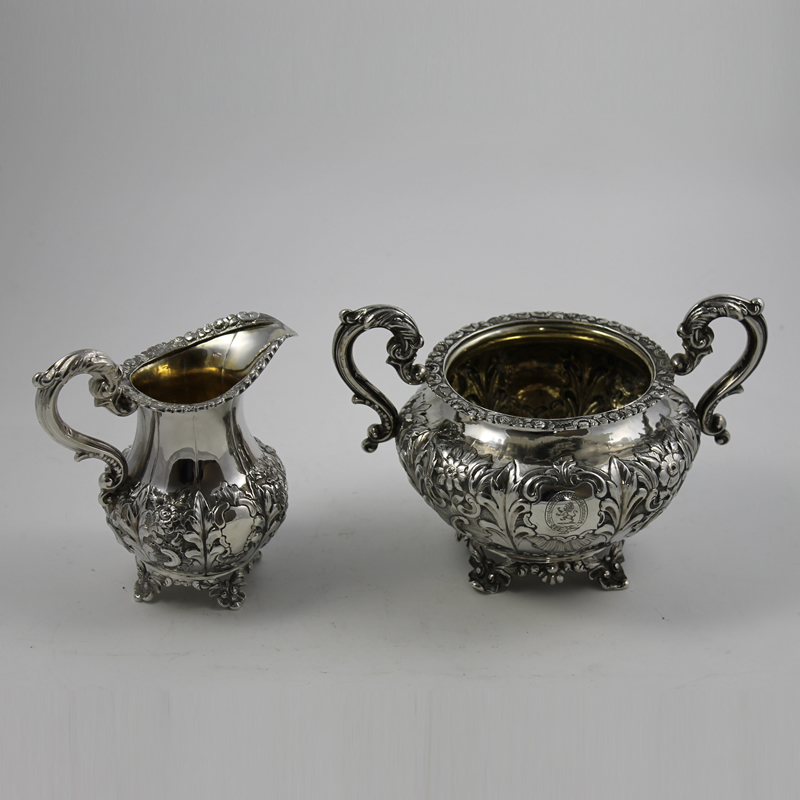 Antique Irish Silver Cream and Sugar R.560